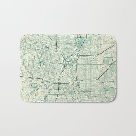San Antonio Map Blue Vintage Bath Mat