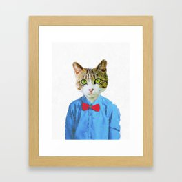 Cute funny cat with blue shirt Framed Art Print