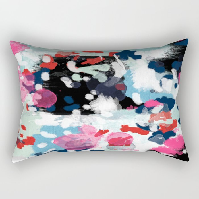 Aubrey - Abstract painting in bright colors pink navy white gold Rectangular Pillow