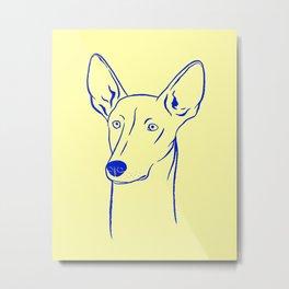 Ibizan Hound (Pale Yellow and Blue) Metal Print