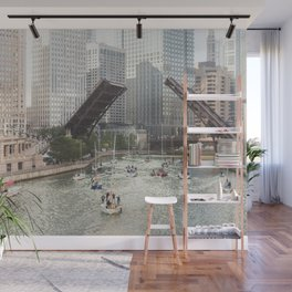 Chicago River, Bridges Up Wall Mural