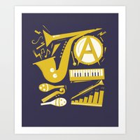 jazz Art Prints featuring Jazz by Veronica S