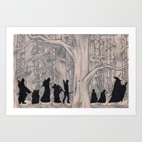 lotr Art Prints featuring On the way (The Fellowship of the Ring, LOTR) by Blanca MonQnill Sole