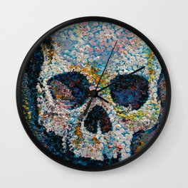 Pointillism Skull Wall Clock