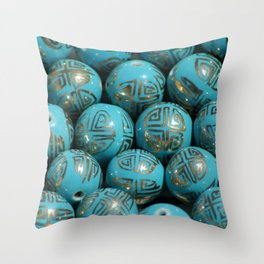 Chinese Porcelain Beads In Blue Throw Pillow