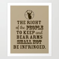 Outdoorsman Collection- Second Amendment Wall Print (Dark Brown/Taupe) Art Print