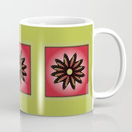 Red Stitched Flower Coffee Mug