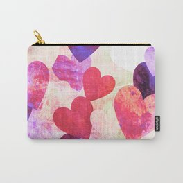 Fab Pink & Purple Grungy Hearts Design Carry-All Pouch