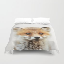 Baby Fox, Baby Animals Art Print By Synplus Duvet Cover