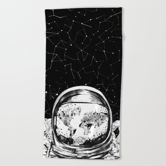 astronaut world map black and white 1 Beach Towel