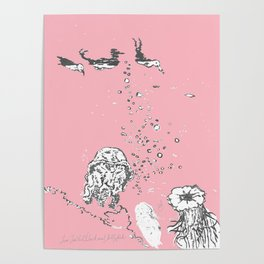 Two Tailed Duck and Jellyfish Baby Pink Deep Poster