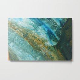 Ocean Splatter in Watercolor and Acrylic Metal Print
