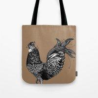 chicken Tote Bags featuring Chicken  by Aubree Eisenwinter