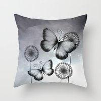 butterflies Throw Pillows featuring Butterflies by LouJah