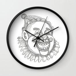 Vintage Circus Clown Head Doodle Wall Clock
