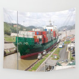 A cargo ship crossing the Miraflores locks at the Panama Canal Wall Tapestry