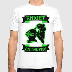 Stag Knight on the Piss SMALL White Mens Fitted Tee