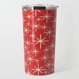 Atomic Age Christmas Stars - Midcentury Modern Pattern in Cream and Retro Xmas Red Travel Mug