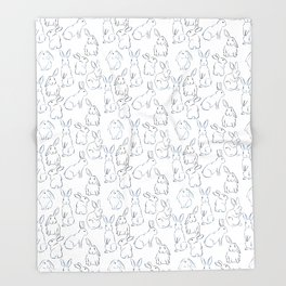 Indigo Bunnies Throw Blanket