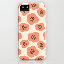 Modern Bold Pink Flowers on Tan iPhone Case