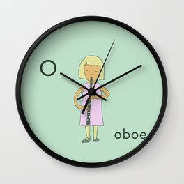 O is for Oboe Wall Clock