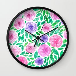 Watercolor petunia garden Wall Clock