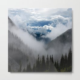 MOUNTAIN, FOREST AND FOG Metal Print