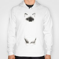 indonesia Hoodies featuring Angora Siamese Cat - Chat Siamois Angora by Priscilla Moore
