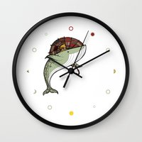 whales Wall Clocks featuring Whales by green penguin