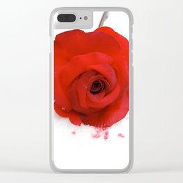 A red rose in the snow Clear iPhone Case