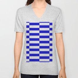 Blue And White Rectangular Checkered Pattern Unisex V-Neck