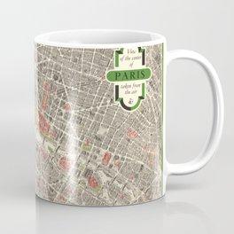 Paris, France City Map Vintage Poster, Eiffel Tower, Notre-Dame, Champs-Elysees, Arc de Triomphe, Latin Quarter Coffee Mug