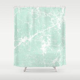 Modern vintage mint white elegant marble Shower Curtain