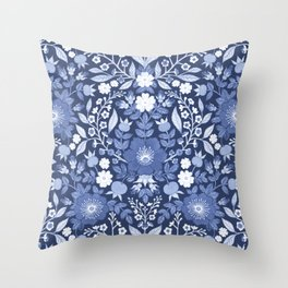 Rose Hip Folk Floral Pattern Blue Throw Pillow