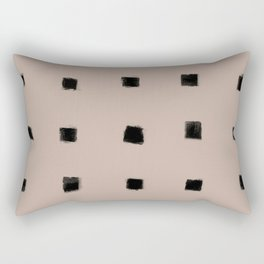 Polka Strokes Gapped - Black on Nude Rectangular Pillow