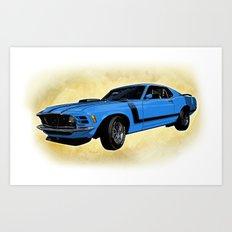 Ford Mustang Boss 302 - Grabber Blue Art Print