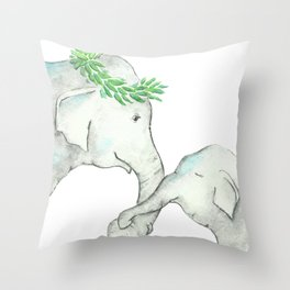 Elephant Mother and Baby Watercolor blue Throw Pillow