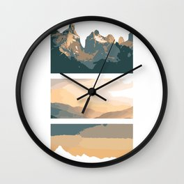 Minimalistic Mountains and Skies Wall Clock
