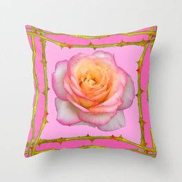 ROSE & RAMBLING THORNY CANES PINK BORDER PATTERNS Throw Pillow