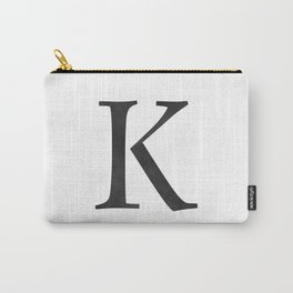 Letter K Initial Monogram Black and White Carry-All Pouch