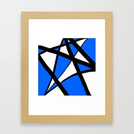 China Blue Geometric Triangle Abstract Inverse Framed Art Print