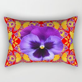RED PURPLE PANSIES & GOLD  BUTTERFLIES KALEIDOSCOPE ART Rectangular Pillow