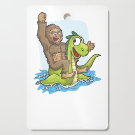 Bigfoot Riding Nessie Big Foot and Loch Ness Monster Cutting Board