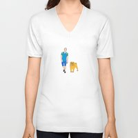 finn and jake V-neck T-shirts featuring Jake and Finn by Λdd1x7