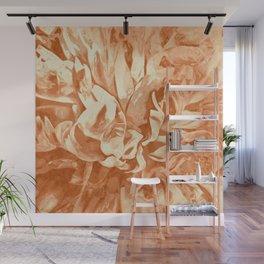 Painted Peony Sepia Orange Wall Mural