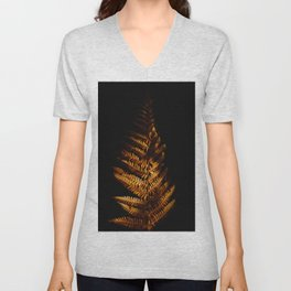 Minimalist Brown Autumn Fern Leaf Black Background Foliage Photography Unisex V-Neck