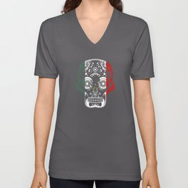 Mexican Design Mexican Flag Design For Mexican Pride Skull Clean Unisex V-Neck