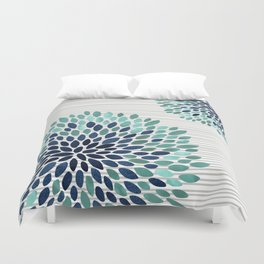 Blooms and Stripes, Aqua and Navy Duvet Cover