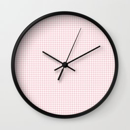 Pale Millennial Pink Pastel and White Houndstooth Check Wall Clock