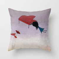 piano Throw Pillows featuring Piano by viola'